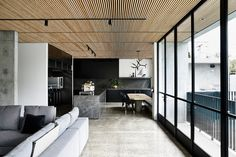 The Epsilon Panel is the most frequently used panel from Wellington Architectural's range of timber cladding panels. The repetition and depth of the closely spaced timber battens creates a unique textural wall feature. Timber Battens, Timber Panelling, Timber Cladding, Wall Panelling, Concrete Architecture, Contemporary Architecture, Interior Architecture, Interior Design, Timber Ceiling