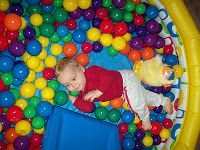 Ball Pit  Turn your baby pool into an indoor activity during the colder months: create a ball pit. Fill the pool with colored plastic balls. You can find them at Wal-Mart or on Amazon.  We used this at our son's first birthday, and it was a hit!  I left it in the house for a while after, and my son loved climbing in and out.  The Stay-at-Home-Mom Survival Guide: Infant Activities