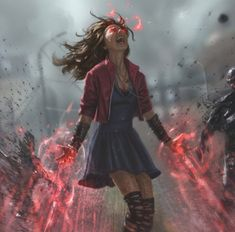 Scene like Addie w/ Devyn Scarlet Witch by Andy Park Dark Fantasy, Fantasy Girl, Fantasy Witch, Fantasy Characters, Female Characters, Character Inspiration, Character Art, Scarlet Witch Marvel, Andy Park