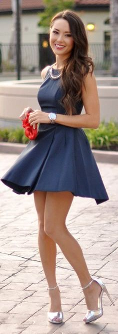 Daily Look Navy High Neck Fit And Flare Box Pleated Skater Dress by Hapa Time