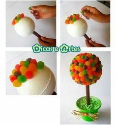 Buy small cake cases to match colour scheme instead of brown cases on Ferrero roche Wedding sweet trees Sweet Trees, Candy Crafts, Candy Bouquet, Ideas Para Fiestas, Candy Party, Diy Party, Party Time, First Birthdays, Diy And Crafts