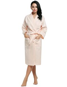 Ekouaer Cotton Robe Womens Waffle Weave Kimono Bridesmaids Spa Bath Robes S-XL ** You can find out more details at the link of the image.