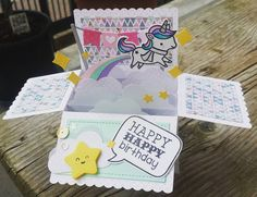 "29 Likes, 8 Comments - vane (@vanessasaluto) on Instagram: "" #lawnfawnatics #winterunicorn #happybirthday #importantbirthday #birthdaycard #cardinabox…"""