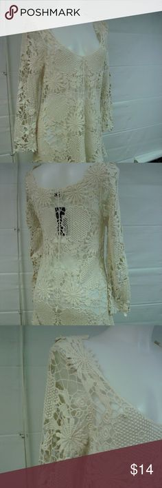 "Romantic Cotton Lace Tunic Cream NWT Natural 100% Cotton long sleeve, scoop neckline, lace tunic. Nice top, with beautiful texture. Great with jeans, will also work with a slip dress. Bust 36"", Length approx. 27"" I welcome all questions for additional information Venice Blue Tops Tunics"