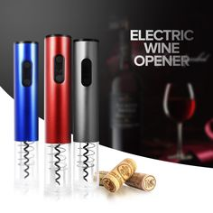 Original Automatic Wine Bottle Opener Kit Automatic Corkscrew Electric Wine Opener Cordless With Foil Cutter And Vacuum Stopper(China (Mainland)) Best Wine Opener, Electric Wine Bottle Opener, Lumiere Led, Wine Stoppers, Wine Pourer, Bar Tools, Shopping, Wine Tasting, Plugs
