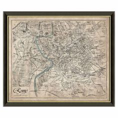 Historic Map Of Rome Reproduction Print Rome Framed Italy Wall Décor Travel NEW #gen