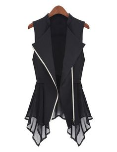 New Fashion Women's Girl Vest Style Sleeveless Chiffon Coat Tank Top Black/White_Vests/Tank Tops_Women_Women's Fashion Zone & Best Price Clothes