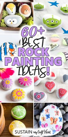 From woodland animals, flowers, holidays, characters and more, find over 60 of the best painted rocks tutorials to try in this inspiring collection. Easy Painting Projects, Rock Painting Ideas Easy, Rock Painting Designs, Painting For Kids, Diy Painting, Garden Painting, Diy Projects, Painted Rock Animals, Painted Rocks Kids