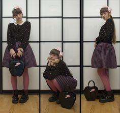 Vagabond Army Boots, Pink Black Bracelet, Blue Strive Heart Print Cardi, Pink Cardi, H Kids Pink Bow, Handmade 30 Years Old Striped Skirt, Bodyline Apple Bag, Calzedonia Pink Tights