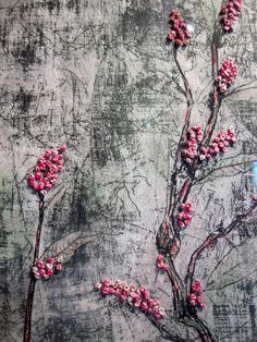 ♒ Enchanting Embroidery ♒  Smartweed (detail), Liz Menard, etching, chine colle, french knots