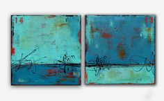 Original abstract paintings Two piece set by erinashleyart on Etsy, $450.00
