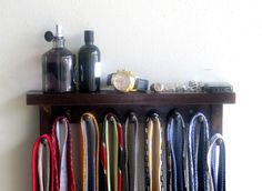 Tie rack Tie Bar Tie Holder  with shelf for Men