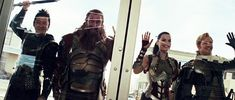 Lady Sif and the Warriors Three arrive in New Mexico. They look like puppies wanting to be adopted.