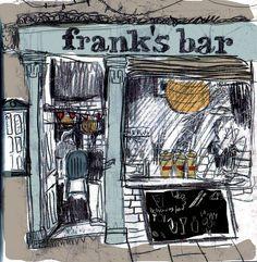 Frank's Bar Norwich by Jambo julie Franks Bar, Carbon Paper, Pen And Wash, Urban Sketchers, Art Journal Inspiration, Art Sketchbook, Artsy Fartsy, Paper Art, Carbon Copy