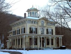 Chapin House, (1867) New Hartford, CT  Italianate style - low roofs, wide eaves, and ornamental brackets, Victorian Italianate houses suggest an Italian Renaissance villa; Some even sport a romantic cupola on the roof.