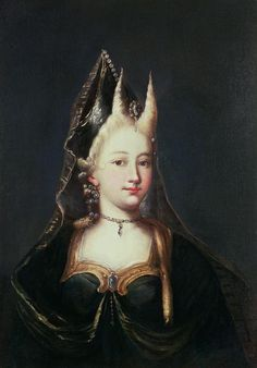 A horned witch, maybe Françoise Marie de Bourbon (1677-1749), youngest illegitimate daughter of king Louis XIV of France, duchess of Orléans by her marriage with Phillipe II, duke of Orléans, here dressed for a ball | French School (18th century)