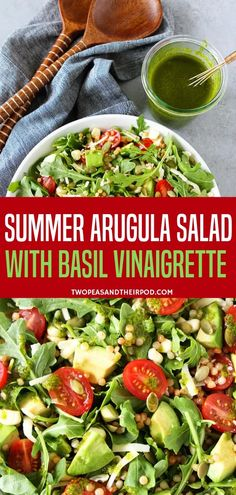 Include this summer recipe with vegetables in your all-time favorite salad meals! The Arugula salad is with couscous avocado corn tomatoes cheese pepitas and simple basil vinaigrette. It is so refreshing and goes great with any other meals! Argula Recipes, Carrot Salad Recipes, Arugula Salad Recipes, Green Salad Recipes, Summer Salad Recipes, Easy Salads, Healthy Salad Recipes, Summer Salads, Basil Recipes