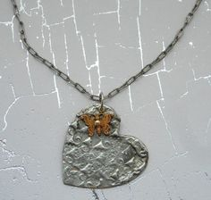 My New Obsession-Stamped Solder Jewelry My newest jewelry making technique and obsession involves stamping molten silver metal solder onto a brass or copper backing. Once the silver solder is heated to liquid it is then stamped. Once coo. Metal Necklaces, Metal Jewelry, Silver Jewelry, Spoon Jewelry, Heart Jewelry, Silver Ring, Jewelry Crafts, Jewelry Art, Jewelry Design
