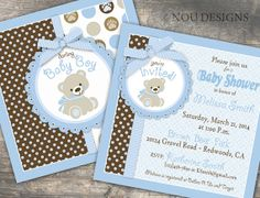 Adorable Teddy Bear Baby Shower or Baptism Invitation Card- Digital File on Etsy, $15.00