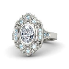 Oval Diamond 14K White Gold Ring with Aquamarine - Arya Ring | Gemvara IDEAL!