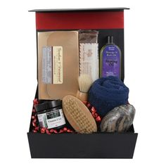 "This ""Pamper him"" gift box hamper comes filled with great items for male pampering, includes old fashioned shaving brush, shaving oil and vitamin E gel. Along with the pamper items there are some delicious indulgent treats including fudge and a choice of Toffees or Drambuie truffle! Perfect unique gift for him"