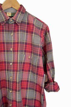 Vintage Men's Plaid Work Shirt in Red & by twigandspokevintage