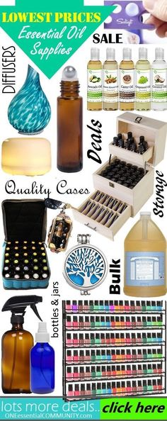 Love this! Best deals for essential oil supplies!! Ultrasonic diffuser that runs for 10+ hours, diffuser necklaces from $3, essential oil cases, glass spray bottles, carrier oils, essential oil tools -- lots of GREAT deals!!