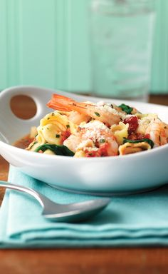 Shrimp, Tortellini & Spinach — What's better than cheese tortellini? Cheese tortellini with garlic red pepper sauce, shrimp, spinach and fresh basil, that's what. Eating right never tasted so good.