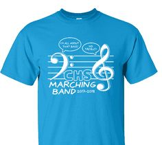 High School Impressions BND-041-w; Custom Marching Band Tees - Create your own design for t-shirts, hoodies, sweatshirts. Choose your Text, Ink and Garment Colors