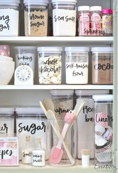 Free Printable Pantry Labels hand lettered by Zuer Designs. Print on clear stick… Free Printable Pantry Labels hand lettered by Zuer Designs. Print on clear sticker paper. Organizing Ideas, Kitchen Organization, Organization Hacks, Organizing Labels, Organising, Bedroom Organization, Organization Ideas For The Home, Roommate Organization, Closet Organisation