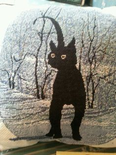 "P. Buckley Moss Pillow "" cinder's pillow "" 1999***RARE**black cat  #Vintage"