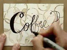 DIY postcard: Painting a Coffee Pattern by Koosje Koene: www. Art Journal Backgrounds, Art Journal Pages, Junk Journal, Diy Postcard, Calligraphy Cards, Watercolor Video, Art Tutorials, All Art, Christmas Cards