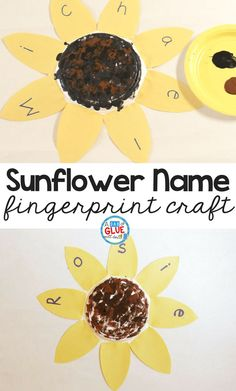 When I think of back-to-school season I usually think of apples, but my favorite August and September symbol is the sunflower. The first day of school often involves learning names too, so I thought a sunflower name and fingerprint craft would be great to along with introductions during the beginning of a new school year.