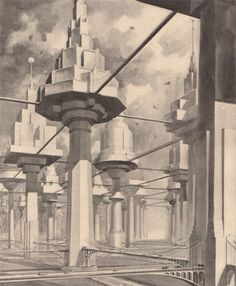 "n-architecture:  "" The city of the future (April, 1934 Popular Science Monthly)  Imagining a City of Treelike Buildings  """