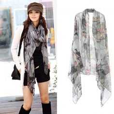 8d39cbe46d78a Fashion Elegant Style Colorful Flower Pattern Scarf For Women