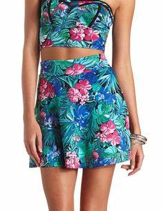 Tropical Floral Print Skater Skirt by Charlotte Russe - Blue Combo Tie Dye Skirt, Dress Skirt, Full Skirts, Skater Skirts, Skater Style, Bustier Top, Super Skinny Jeans, Skirt Fashion, Luau