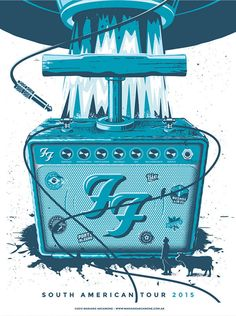 Poster design proposal by Mariano Arcamone for the Foo Fighters South American Tour Tour Posters, Band Posters, Musikfestival Poster, Poster Prints, Festival Posters, Concert Posters, Foo Fighters Poster, American Tours, Musical