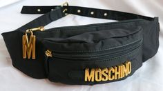 MOSCHINO 1990's Polished gold logo front black fanny pack