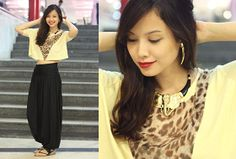 Forever 21 Elephant Head Necklace, Tusk Earrings, Alter/Ego Black Harems, Hanging Leopard Top