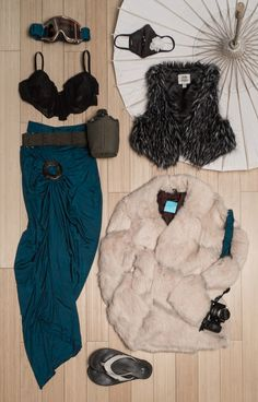 Womens Burning Man costume with cinched maxi skirt, motocross goggles, bra top, dust mask, parasol, utility belt, faux fur vest or coat and flip flops | northtosouth.us
