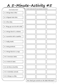 A 5 Minute Activity 4 worksheet Free ESL printable worksheets made by teachers English Lessons, Learn English, French Lessons, Spanish Lessons, Learn French, Classroom Activities, Fun Activities, English Activities, Printable Worksheets