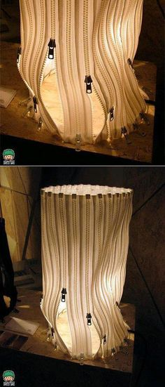 DIY Zipper Lampshade (inspiration only) - I like to vary the amount of light for different situations, so this is an interesting idea. Diy Deco Rangement, Diy Luz, Luminaire Original, Diy Luminaire, Zipper Crafts, Zipper Jewelry, Cool Diy Projects, Weekend Projects, Lampshades