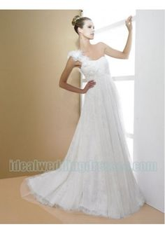 Basic Description:This brand new custom made bridal dress features its tulle fashion one shoulder with soft neckline and empire slim a line skirt hot sell beach outdoor wedding style.This wedding dress can also be used for destination wedding dresses model gelin