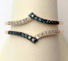10kt Yellow Gold Prong Set Solitaire Enhancer Blue and White Diamonds Ring Guard Wrap (0.20ctw)...(RG321667344482).! Price: $269.99 #gold #diamonds #ringguard #wrap #enhancer #fashion #jewelry #love #gift
