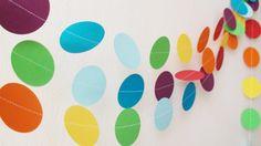 Rainbow circles paper garland Garden Party decor by HelenKurtidu