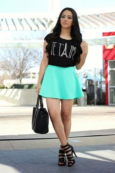What better way to show your love for fashion than wearing it! We  blogger @Mayte doll's #OOTD with a Charlotte Russe top, strappy heels & teal skater skirt