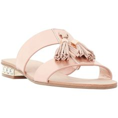 Dune Newberr Slip On Tassel Sandals , Rose Gold (€83) ❤ liked on Polyvore featuring shoes, sandals, rose gold, strappy flats, flat sandals, slip-on shoes, flat pumps and flat shoes