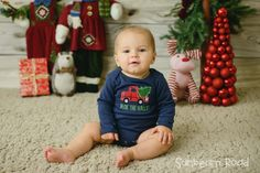 Baby Christmas Bodysuit with 'Deck the Halls' by SunbeamRoad