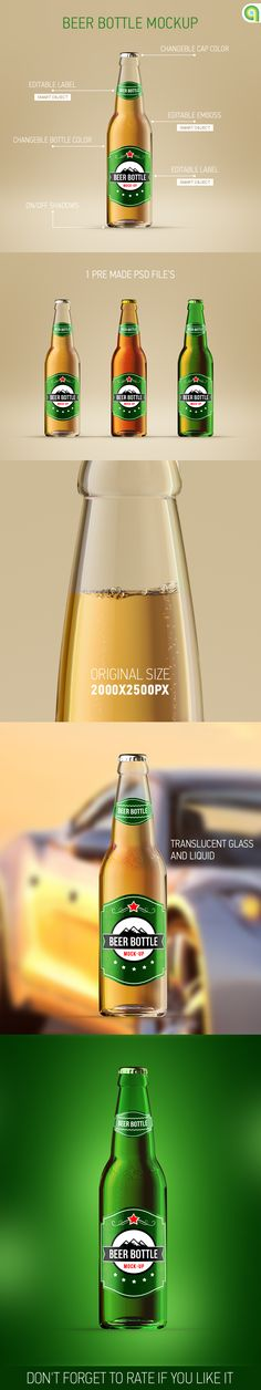 Beer Bottle Mockup. Light Beer, advertise, alcohol, beer, beer mock-up, bottle, brown beer, cap, drink, food, glass, green beer, minimal, mock-up, mockup, mockups, package, patrick's day, photorealistic, photoshop, poster, product, psd, realistic, smart obejct, template, templete, transparent bottle, wine #mockup