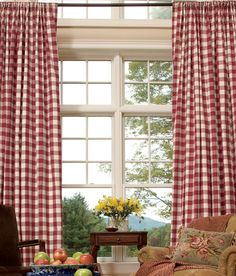 Buffalo check curtains in red